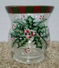 Yankee Candle Christmas Holly Leaves Berries Crackle Glass Votive Holder