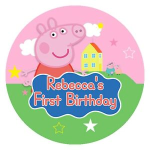 24 Glossy Personalised Peppa  Stickers for Party & Sweet  Bags 45mm Dia Pink