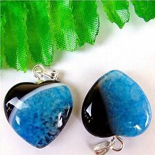 2Pcs Blue & Black Druzy Geode Agate Peach Heart Pendant Bead 25*20*7mm HP18197