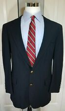 Savile Row Mens Gold Button Blazer Sport Coat Jacket 42R Navy 100% Wool USA EUC