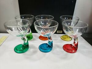 "Set Of Cool 5 1/2"" Italian Multicolor Champagne Glasses"