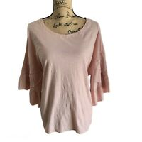 Vince Camuto Womens Tiered Ruffle Sleeves Blouse Top XL Wild Rose NWT