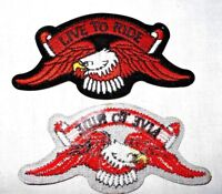 """4""""x2"""" EAGLE LIVE TO RIDE MOTORCYCLE/BIKER EMBROIDERED SEW OR IRON ON PATCH"""