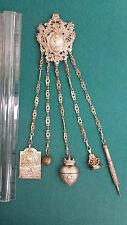 Just Grand looking Antique chatelaine Fancy Cherubs  heart stone ball pen pad