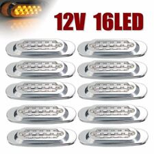 "10pcs 6.5""  Clear Amber Lens Light 16 LED Waterproof Side Marker Bulb For Truck"