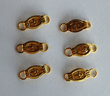 VINTAGE BRASS TINY JEWELRY CLASP 6 CLASPS DECORATIVE STAMPINGS • 10mm • 2 RINGS