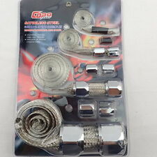 Braided Stainless Hose & Wire Sleeve Cover Kit Inc Chrome Aluminium Clamp Covers