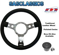 TRADITIONAL 15'' INCH MOUNTNEY LEATHER STEERING WHEEL - POLISHED CENTRE - 53SPLB