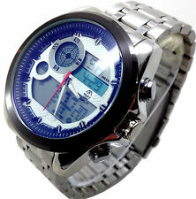 031P Men's Army Style Wrist Watch Stainless Steel Analogue Digital Dial Quartz
