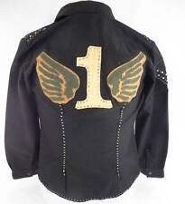 Tag Vintage Couture L Black Jacket Stage Wear Rocker Studded Glam Wings