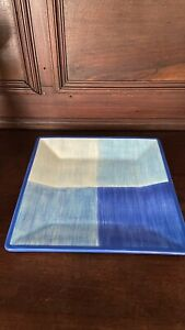 "Gerber Daisy Blue Abstract Plate Square Jay Import Serving Plate 11"" Square"