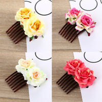 Ladies Double Silk Rose Flower Hair Comb Clip For Wedding Bridal Party Beach H7