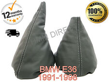 BMW E36 1991-1998 GENUINE GREY LEATHER GEAR & HANDBRAKE GAITER-GREY STITCH