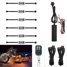 6pcs RGB Color Flexible Strip Motorcycle 5050 SMD LED NEON Accent Lighting Kit