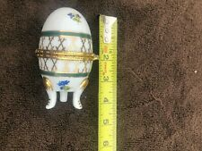 Porcelain Hinged Hand Painted Footed Egg trinket Vintage Antique Collectible
