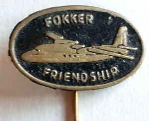 1970's Black Fokker Friendship Aeroplane - Metal Lapel Pin Badge