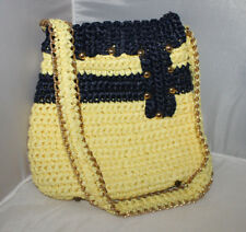 Yellow Black Braided Jute Purse Vintage Italy Made For Sears Chain Detail Prop