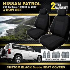 BLACK Nissan Patrol GU Y61 Custom Seat Covers 3 ROW SET 10/2004-2017 GU-IV, GU-V