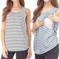 Women Maternity Stripe Sleeveless Shirt Nursing Tank Tops Mom Breastfeeding Vest