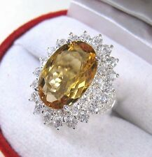 7.69 CTW CITRINE & WHITE SAPPHIRE RING sz 7  WHITE GOLD over 925 STERLING SILVER