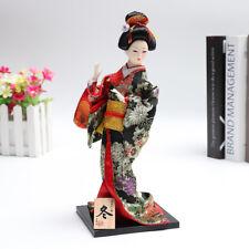 Giapponese Kimono Kabuki bambola inverno Geisha Figurine Statua decorazioni rega