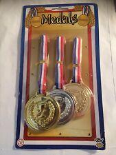 Toy Medals - Gold Silver Bronze Childrens Birthday Party Rewards Trophy Prize