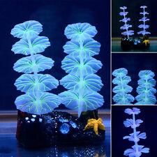 1x Aquarium fish tank Luminous Lights Artificial Lotus Leaf Plants Plastic Decor