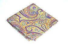 Lord R Colton Masterworks Pocket Square - St Ives Gold & Violet Silk - $75 New