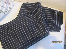 Hobbs Navy Striped Linen Wide Leg Trousers Size 10