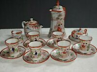 Vintage Porcelain Hand Painted Kutani-Style Moriage Japan Geisha Tea Set