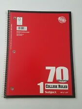 Spiral Bound Notebook College Ruled One Subject 70 Sheets Each Perforated Pages