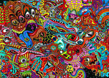 """Psychedelic Trippy Art Fabric poster 20"""" x13"""" Decor 09"""