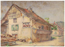 AQUARELLE XIXème - BOVIER-LAPIERRE JEANNE ECOLE LYONNAISE NEE EN 1868 -