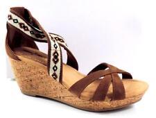 Women's Shoes Minnetonka Moccasin DREW Platform Wedge Sandals Dusty Brown Size 9