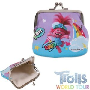 Official TROLLS WORLD TOUR PURSE Metal Clasp Kids Poppy Accessory Coin Pouch