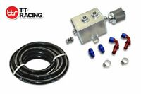 2L ALUMINIUM CHROME OIL CATCH CAN TANK AN-10 w/ FITTINGS KIT AND FUEL HOSE