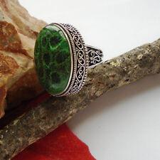 Chrysanthmen Jaspis, grün, Ring, Ø 18,25 mm, Silber plattiert, nostalgisch, neu
