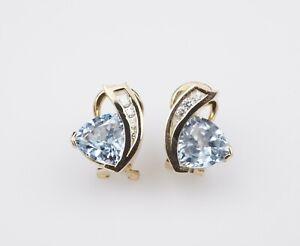 18k Gold 4ct Diamond Topaz Huggie Earrings Omega French Clip Free Ship EG1431