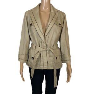 ANN TAYLOR 100% Linen Modern Safari Jacket Zipper Details Flap Pockets Large