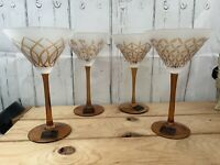 Set Of 4 Mikasa Cheers Artistry Tapestry Martini Glasses Frosted Amber Christmas