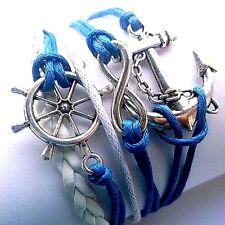 Beach / Coastal /Nautical multi-strand corded braided Bracelet Blue & White H820