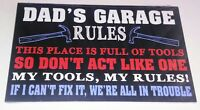 Dad's Garage Rules Wooden Plaque Fathers Day Gift Tools