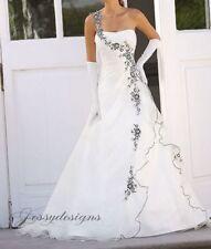 Klassisches Brautkleid A-Linie Weiß Schwarz Stickerei Schnürung Schulterfrei