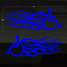 """Handicapped Handicap Wheelchair Fast Flames Set of 2 BLUE Decal Stickers 12x4.5"""""""