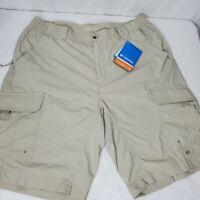Columbia Silver Ridge Cargo Shorts Tan Quick Dry Sun Protection Size 38 New