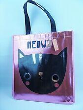 HALLOWEEN CAT Tote Reusable Shopping Book Bag PINK Reflective! 12x13