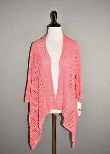 SOUTHERN LADY NEW $30 Pink Asymmetric Open Cardigan Small