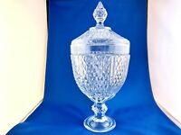 PASABAHCE CANDY DISH FOOTED DIAMOND SHAPED GLASS COVERED -MADE IN TURKEY