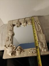 """Hen Feathers Resin Wall Mirror Garden Motif Flowers Tools Watering Can 14""""×12"""""""