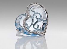 18ct Solid White Gold Heart Cocktail Ring, Large Blue Topaz,Diamond Surround